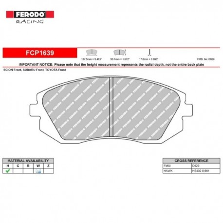 FERODO RACING- Pastiglie freno FCP1639H