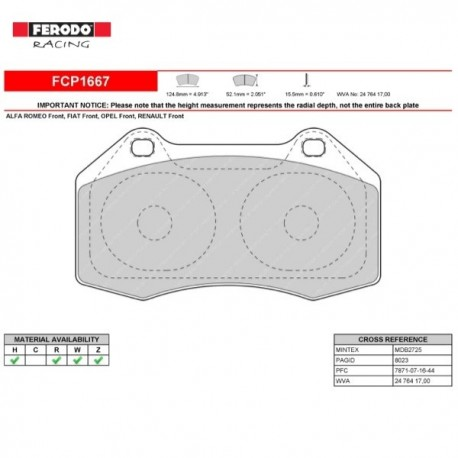 FERODO RACING- Brake pads FCP1667Z