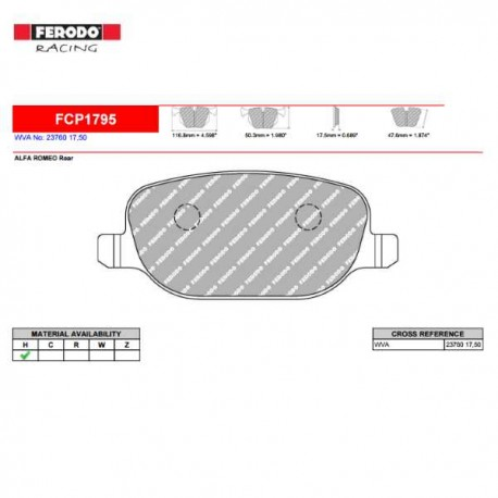 FERODO RACING- Brake pads FCP1795H