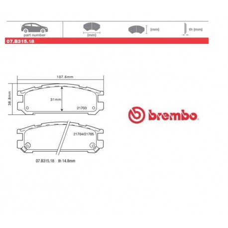 BREMBO - Pastiglie freno 07.B315.18