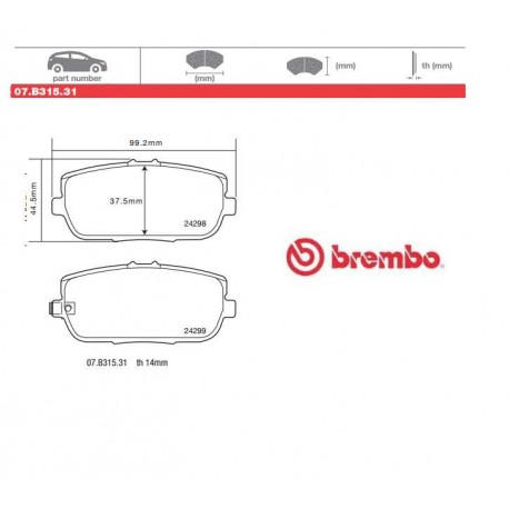 BREMBO - Brake pads 07.B315.31