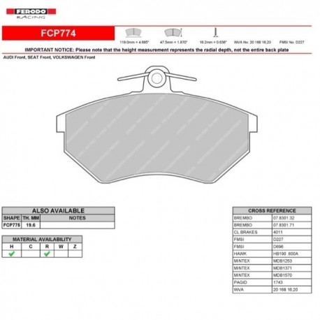 FERODO RACING- Pastiglie freno FCP774R