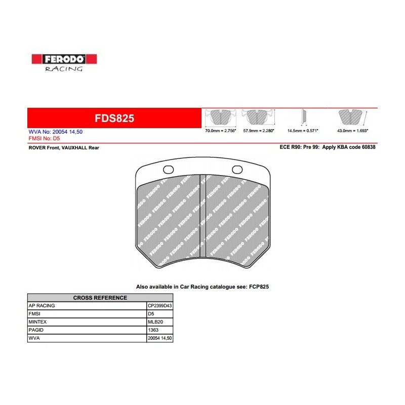 FERODO DS PERFORMANCE-Brake pads FDS825