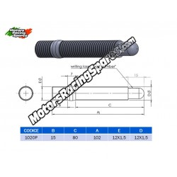 AITECH Double Thread Stud 12x1.5-12X1.5 L.102mm